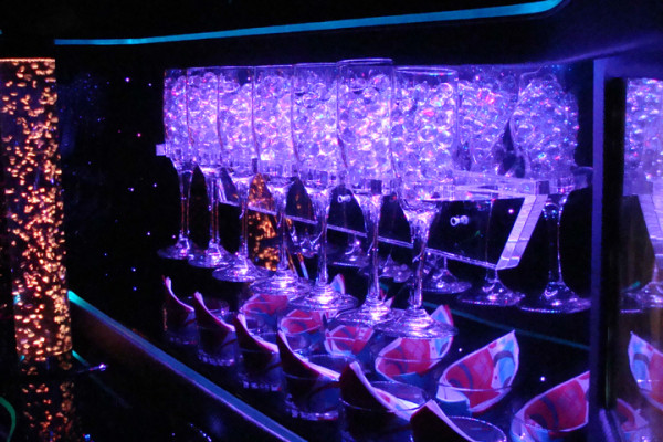 Champagne Glasses in Limo