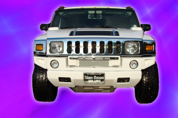 White H2 Hummer Limo Front View